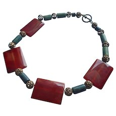 Carnelian Serpentine Brass Filigree Beads Necklace