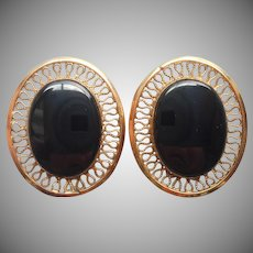 Gold Filled Onyx Clip Earrings Vintage Filigree Frames
