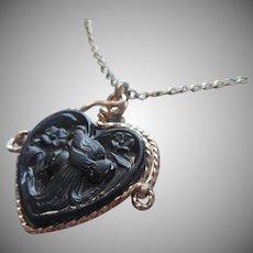Antique Art Nouveau Black Glass Fob Charm On Vintage Gold Filled Chain Necklace