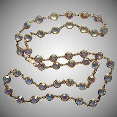 AB Crystal Bezel Set Chain Necklace