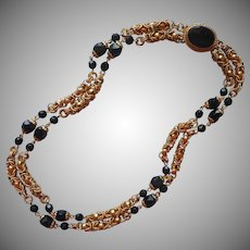 Vintage Necklace Black Glass Beads Clasp Chain Maille Links circa 1970