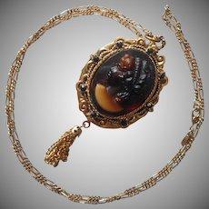 Brown Glass Cameo Locket Necklace Vintage ca 1970 Tassel
