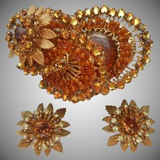 Miriam Haskell Signed Vintage Pin Earrings Set Amber Glass Wired Filigree