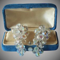 Drippy AB Dangle Cluster Earrings Vintage Crystal Beads Cascade