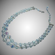 Nice Quality AB Cut Crystal 2 Strand Beads Necklace Vintage