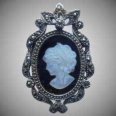 Sterlin Marcasite Mother Of Pearl Black Glass Silver Cameo Pin Pendant