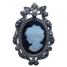 Sterling Marcasite Mother Of Pearl Black Glass Silver Cameo Pin Pendant