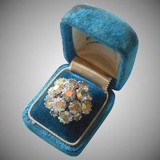 Sarah Coventry Ring AB Crystal Stones Cluster Rhodium Finish 6