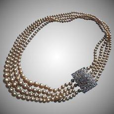 Glass Faux Pearls 4 Strand Necklace Big Rhinestone Clasp TLC