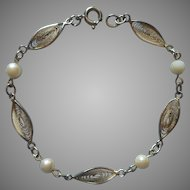 Cultured Pearl Gold Filled Bracelet Filigree Vintage TLC