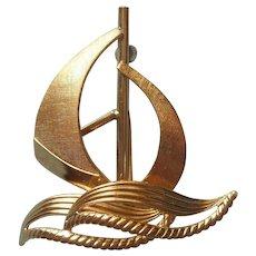 Gold Filled Sailboat Sail Boat Pin Vintage 1960s Van Dell