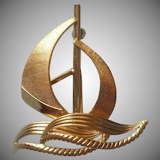Gold Filled Sailboat Sail Boat Pin Vintage 1960s Van Dell