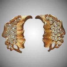 Kramer Earrings Leaf Form Rhinestones Loop Clip