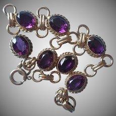Gold Filled Amethyst Stones Bracelet Vintage Dainty Links