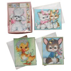 ca 1950 Greeting Cards Oversized Coby Pet Set 3 Get Well Anniversary Vintage