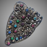 Dress Clip Vintage 1930s Multicolored Stones TLC