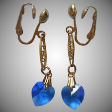 Sarah Coventry Earrings Filigree Dangle Blue Crystal Hearts Vintage HTF