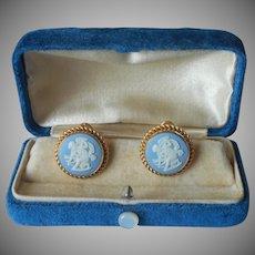 Wedgwood Gold Filled Earrings Vintage Blue Jasperware Van Dell