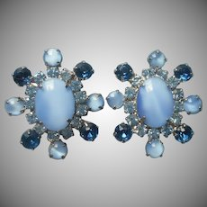Big Vintage Earrings Blue Rhinestones Moonglow Glass Clip