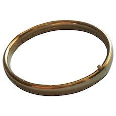 Gold Filled Bangle Bracelet Hinged Simple Plain Classic