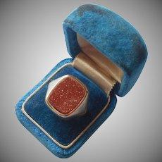 Goldstone Ring Gold Filled Very Vintage 8