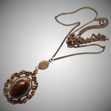 Antique Necklace Edwardian Brown Glass Stone Drop Pendant