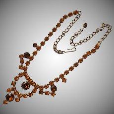 Topaz Colored Rhinestones Choker Necklace Vintage 1950s