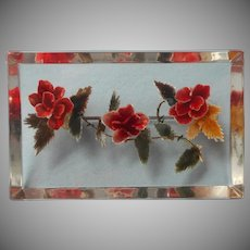 Lucite Reverse Carved Large Pin Vintage Flowers Autumn Colors