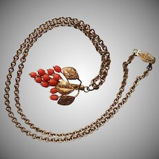1930s Victorian Revival Necklace Faux Coral Glass Grapes Leaves Vintage