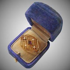 Edwardian 10K Amethyst Pearls Lace Pin Antique