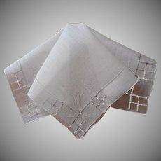 Vintage Hankie Unused Linen Hand Embroidery Hemstitching Shadow Work