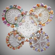 Crocheted Lace Vintage Doilies Ring Of Pansies 4 Plus 1 TLC