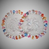 Pair Lamp Doilies Vintage Ring Of Pansies Crocheted Lace