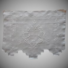 Italian Work Hand Embroidery Cream Linen Chair Doily Antimacassar
