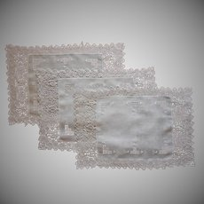 Reticella Lace Linen 3 Placemats Vintage Italian Work Hand Embroidery