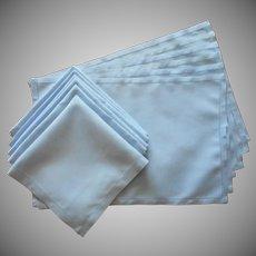 Sky Blue Linen Placemats Napkins Set Vintage 6 Each Simple Hemstitched