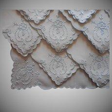 Tea Napkins Vintage Linen Set 11 Pale Blue Hand Embroidery Linen