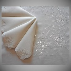 Madeira Luncheon Tablecloth Napkins Set Square Vintage Linen