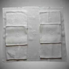 Monogram B C French Huge Vintage 1930s Napkins 29 x 25 Set 7