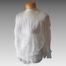 Edwardian Lace Blouse Embroidered Net Tucks Antique