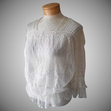 Edwardian Lace Blouse Embroidered Net Tucks Antique
