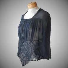 Armistice Era Black Silk Chiffon Over Blouse Hand Embroidery Antique