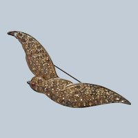 1930s Swallow Bird Pin Vintage Diamante Rhinestone TLC