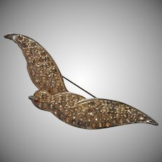 1930s Swallow Bird Pin Vintage Diamante Rhinestone TLC