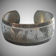 1930s Bracelet Cuff Indian Camping Theme Motifs
