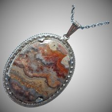ca 1970 Agate Pendant On Chain Necklace Vintage Silver Tone