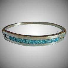 Vintage Mexico Bracelet Alpaca Silver Crushed Turquoise Stone Inlay