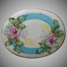 Hand Painted Porcelain Pin Vintage Victorian Revival Japan Pink Roses