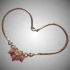 Pink Fruit Salad Glass Vintage Necklace