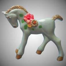 1940s Plastic Horse Pin Vintage Exceptional Paint Baby Blue